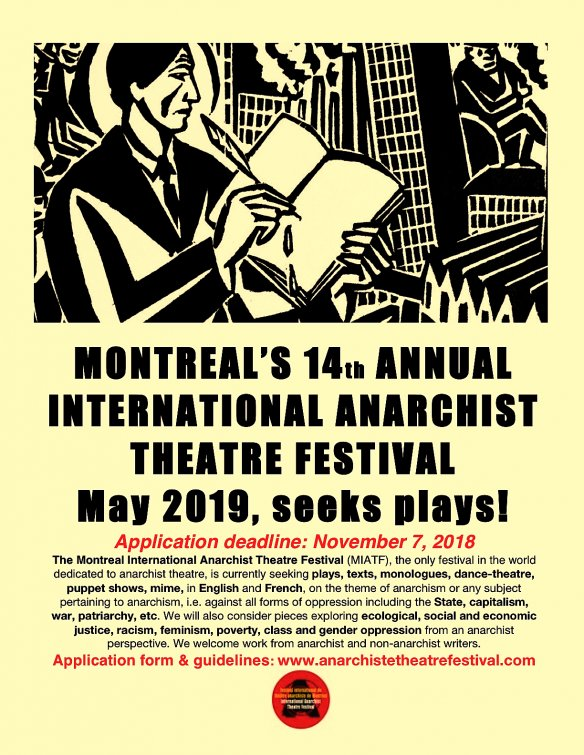 Montreal's 14th Annual International Anarchist Theatre Festival Seeks Plays!